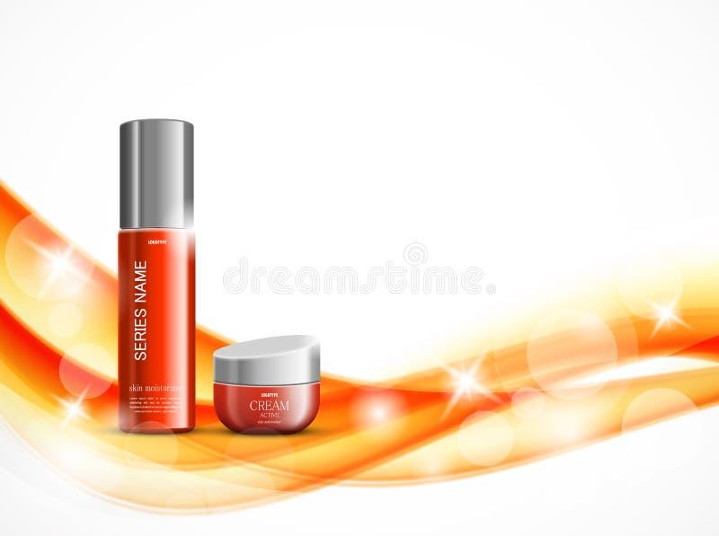 Molde cosmético do projeto do creme hidratante da pele ilustração do vetor
