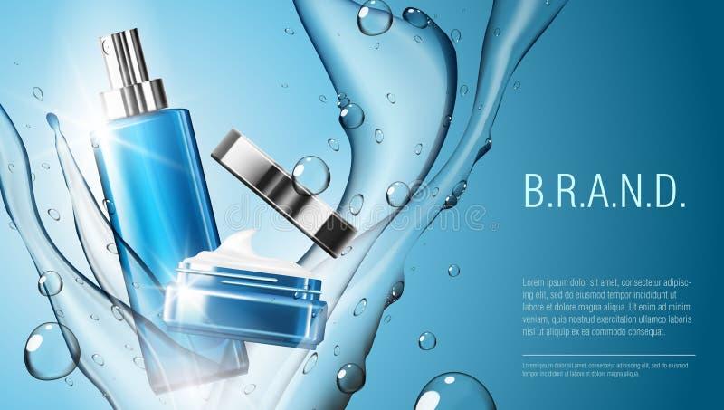 molde cosmético realístico do pacote do frasco da garrafa e do creme do pulverizador do produto 3D ilustração royalty free