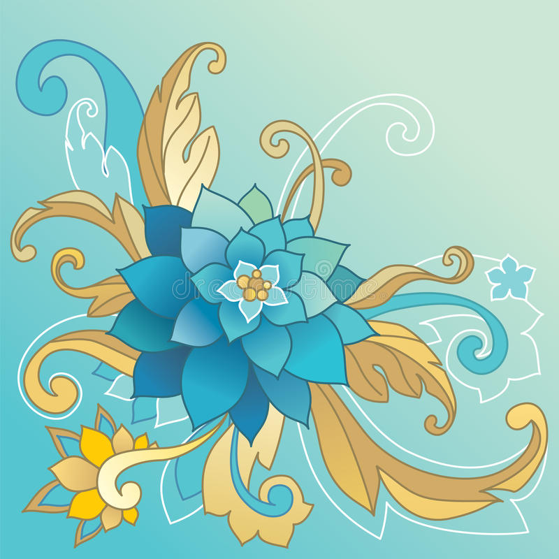 Molde creativo com flor e folhas ilustração stock