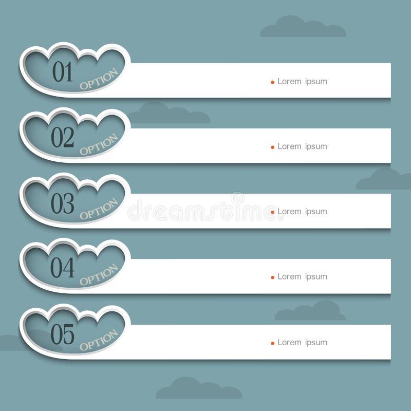 Molde creativo do projeto com nuvens estilizados ilustração royalty free