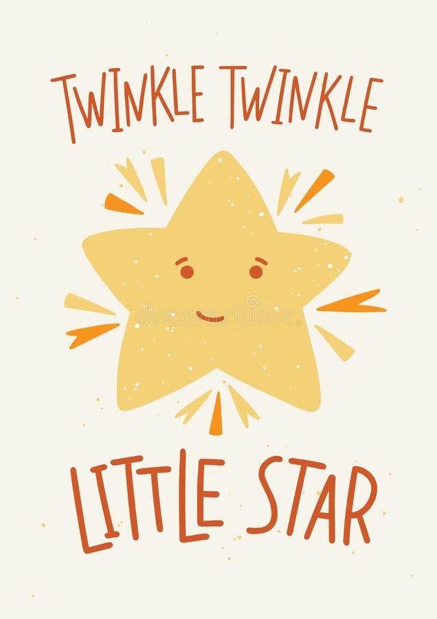 Molde criançola do cartaz com cintilação da cintilação pouca rotulação da estrela escrita à mão com fonte caligráfica elegante e  ilustração do vetor