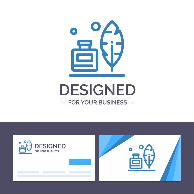 Molde criativo Adobe do cartão e do logotipo, pena, Inkbottle, ilustração americana do vetor ilustração royalty free