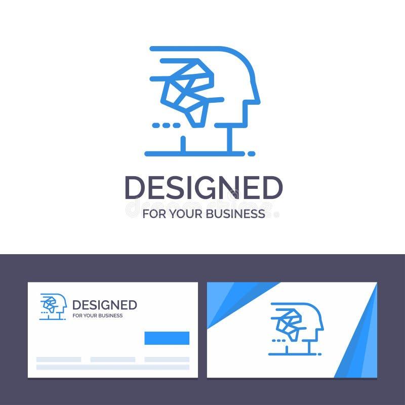 Molde criativo Android do cartão e do logotipo, artificial, cérebro, ser humano, ilustração do vetor da relação ilustração royalty free