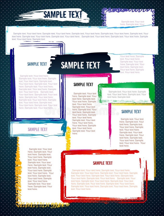 Molde criativo colorido do Web site do projeto do grunge ilustração royalty free