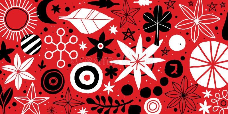 Molde criativo com flores e mão abstrata elementos tirados Pode ser usado anunciando, projeto gráfico ilustração stock