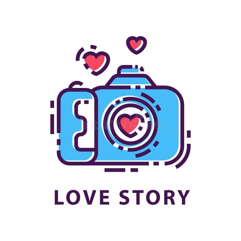Molde criativo do logotipo da fotografia História de amor Emblema original com câmera e corações da foto Vetor linear liso ilustração do vetor