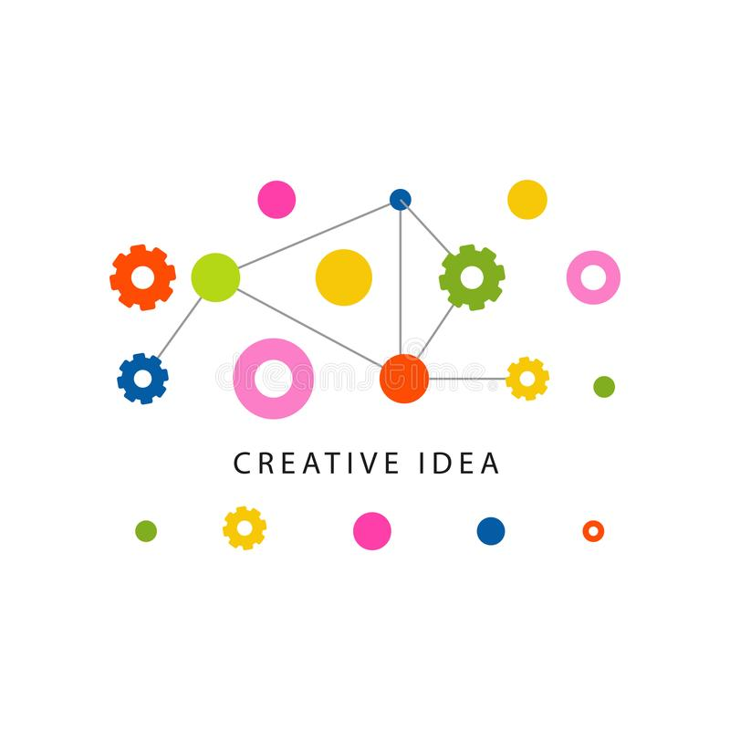 Molde criativo do logotipo da ideia com engrenagens coloridas e outro ilustração stock