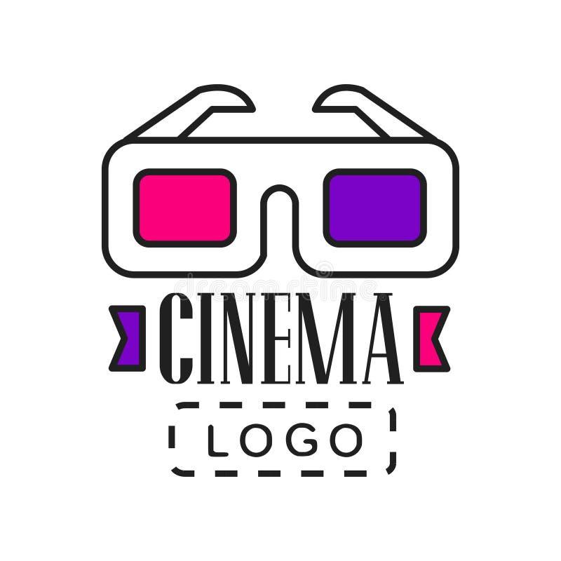 Molde criativo do logotipo para a empresa do vídeo ou do filme Emblema da indústria da cinematografia com vidros e texto do cinem ilustração do vetor