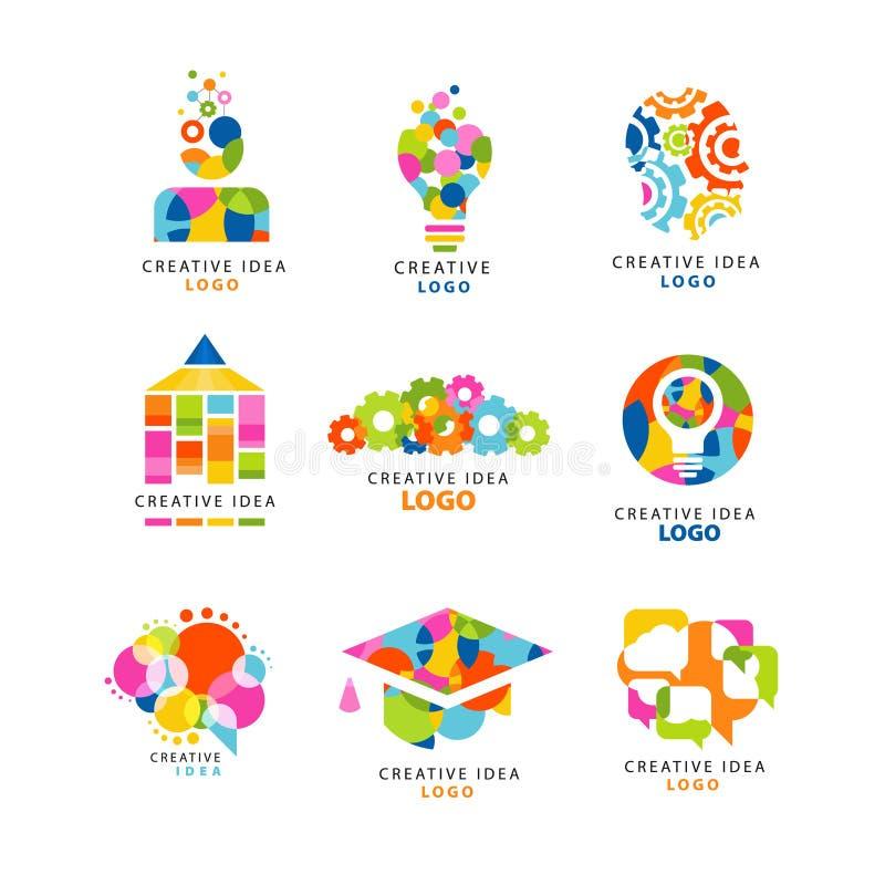 Molde criativo do projeto do logotipo da ideia, elementos coloridos abstratos e símbolos para a site, propaganda, bandeira, carta ilustração royalty free