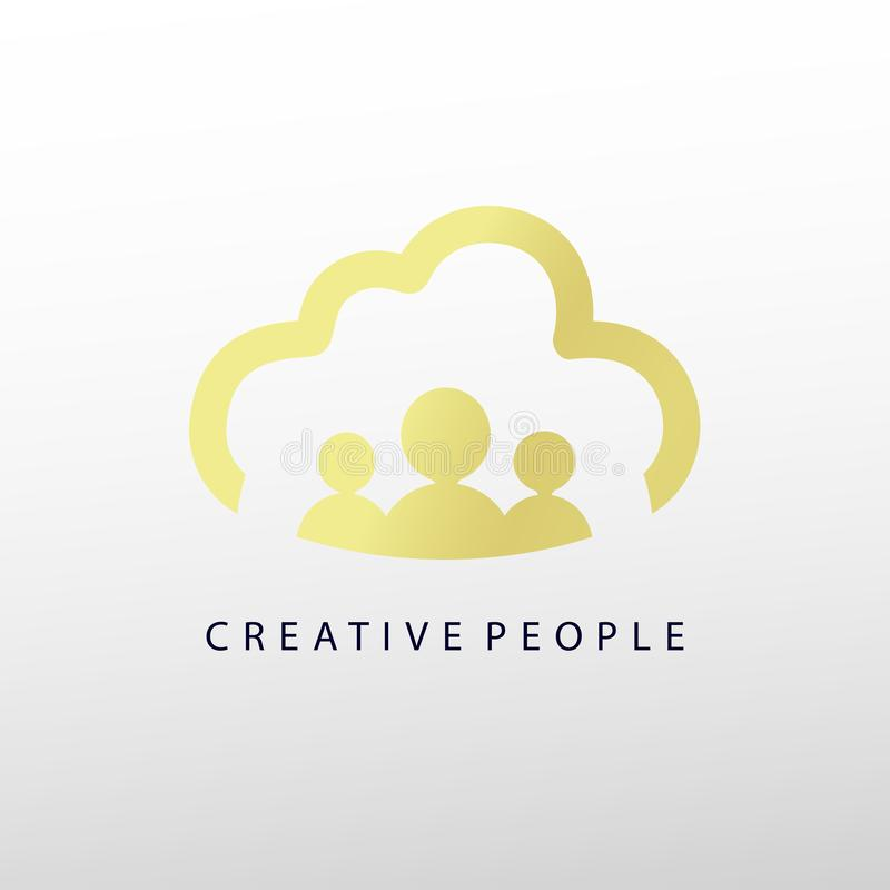 Molde criativo do projeto do logotipo do ouro dos povos com nuvem ilustração do vetor