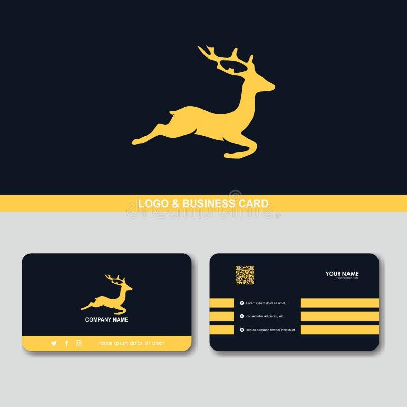 Molde criativo do vetor do conceito de projeto do cartão do logotipo dos cervos ilustração do vetor
