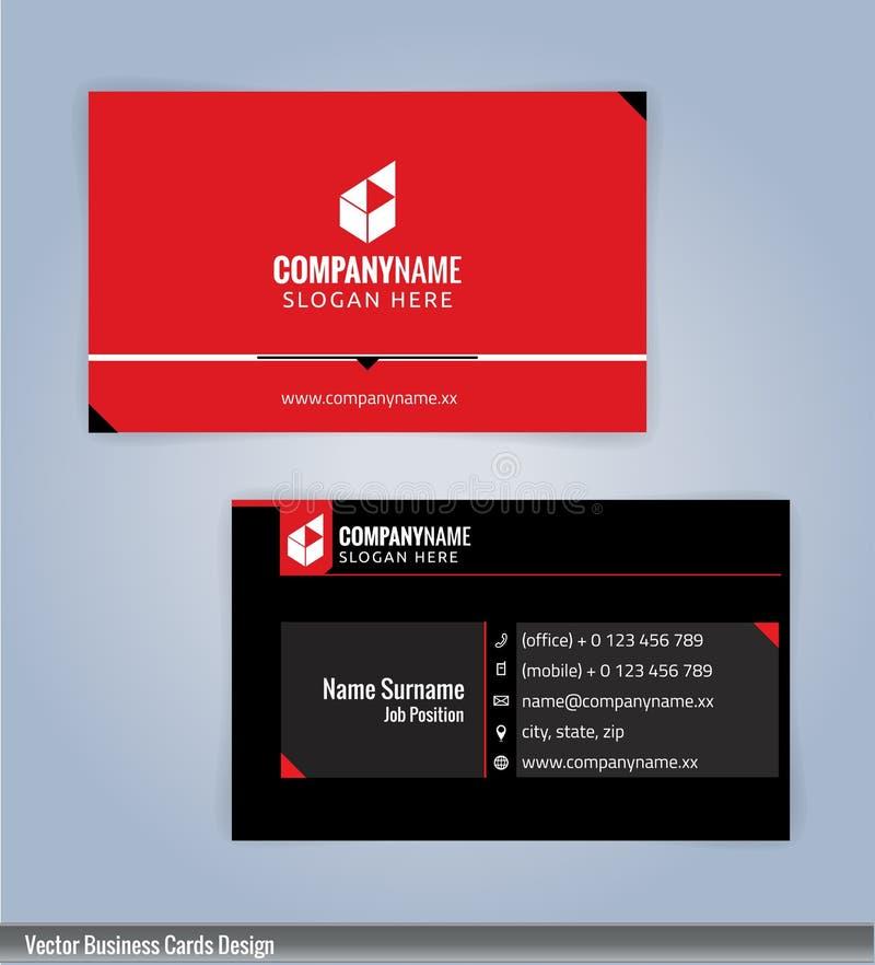 Molde criativo e limpo moderno preto e vermelho do projeto de cartão ilustração do vetor