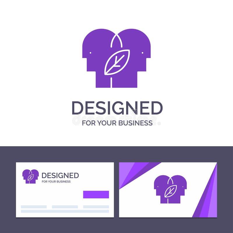 Molde criativo Eco do cartão e do logotipo, mente de Eco, cabeça, ilustração do vetor da mente ilustração do vetor