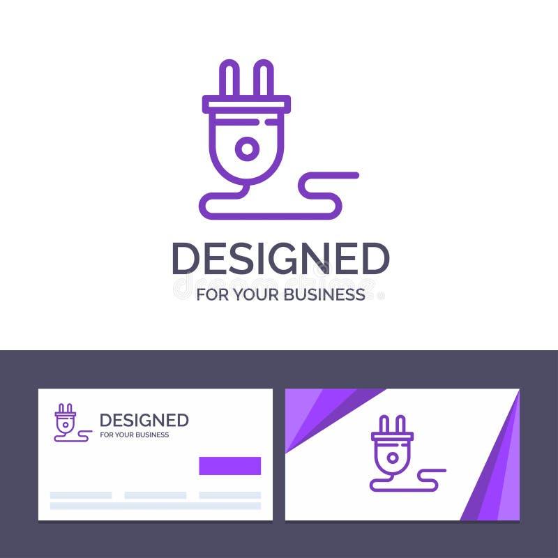Molde criativo elétrico, energia do cartão e do logotipo, tomada, fonte de alimentação, ilustração do vetor ilustração do vetor