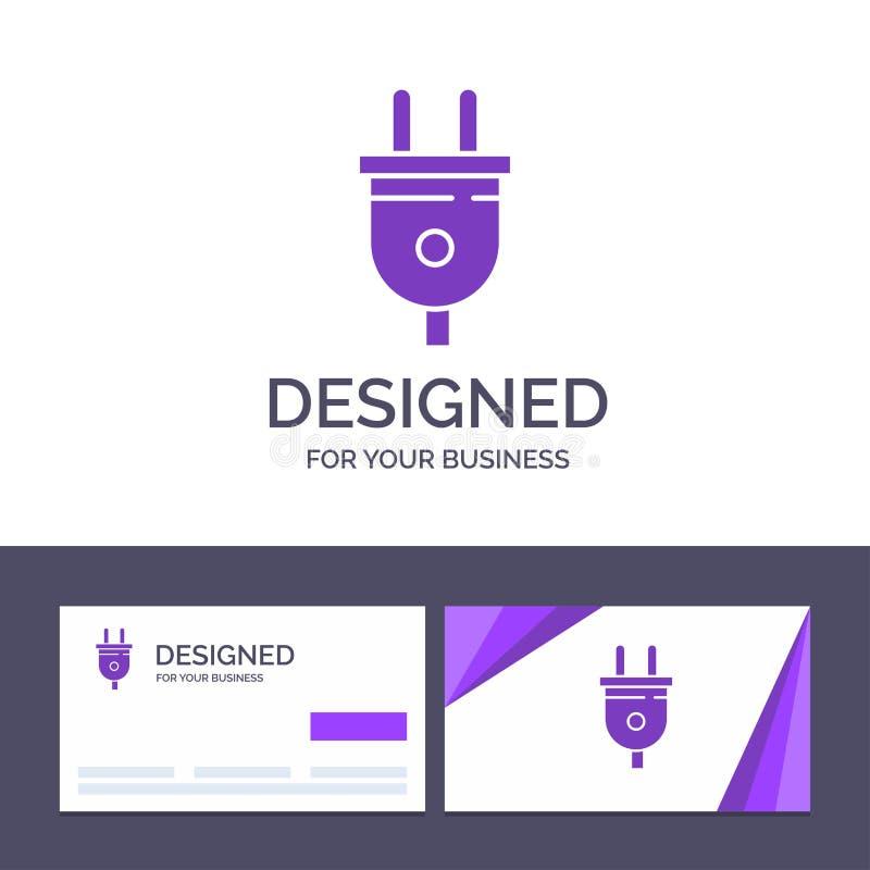 Molde criativo elétrico, tomada do cartão e do logotipo, poder, ilustração do vetor da tomada de poder ilustração royalty free