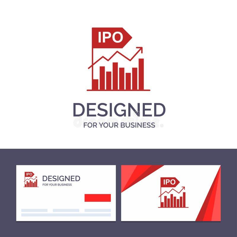 Molde criativo Ipo do cartão e do logotipo, negócio, inicial, moderna, oferta, ilustração pública do vetor ilustração do vetor
