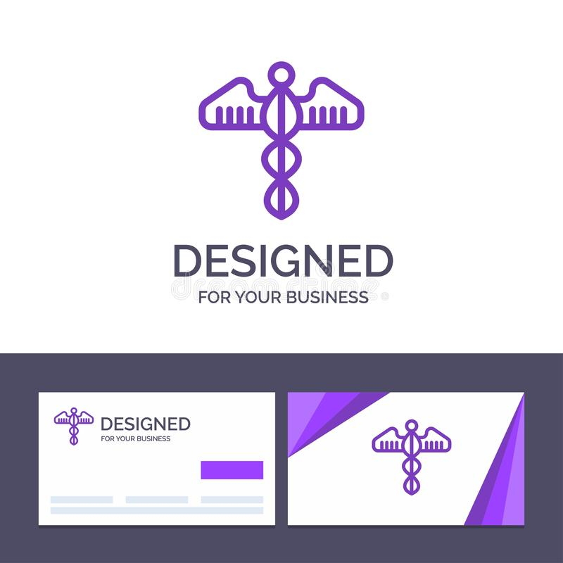 Molde criativo médico, símbolo do cartão e do logotipo, coração, saúde, ilustração do vetor do cuidado ilustração royalty free