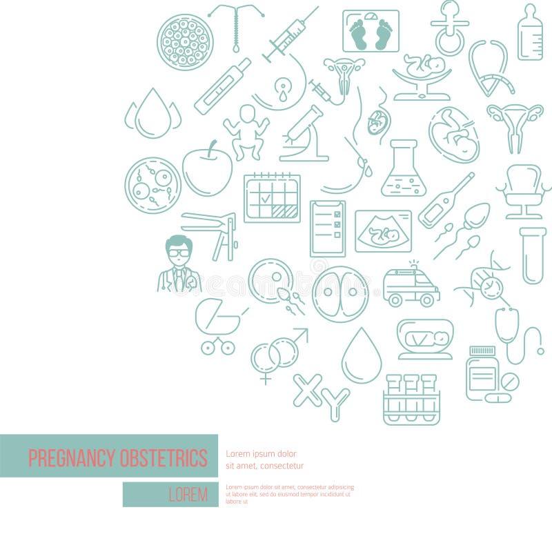 Molde criativo perfeito do vetor bandeira da gravidez e da obstetrícia ilustração stock