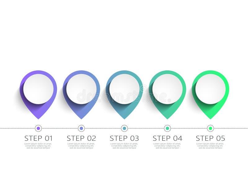 Molde 3D infographic moderno com 5 etapas Mapa com ponteiros do Pin Molde do círculo de negócio com opções para o folheto, diagra ilustração stock