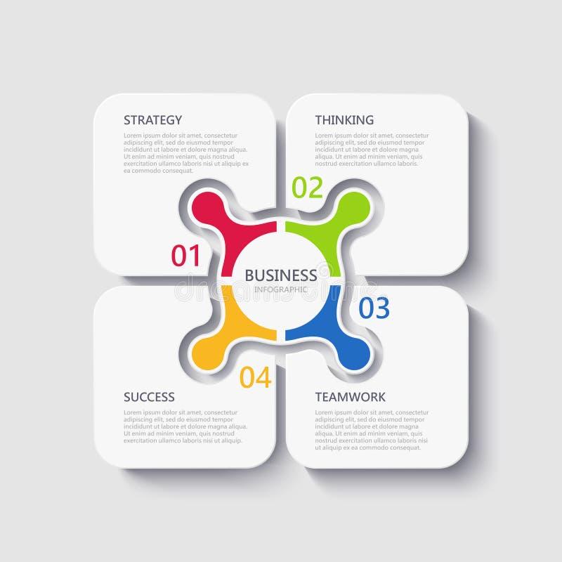 Molde 3D infographic moderno com 4 etapas para o sucesso Molde quadrado dos elementos do negócio com opções para o folheto, diagr ilustração stock