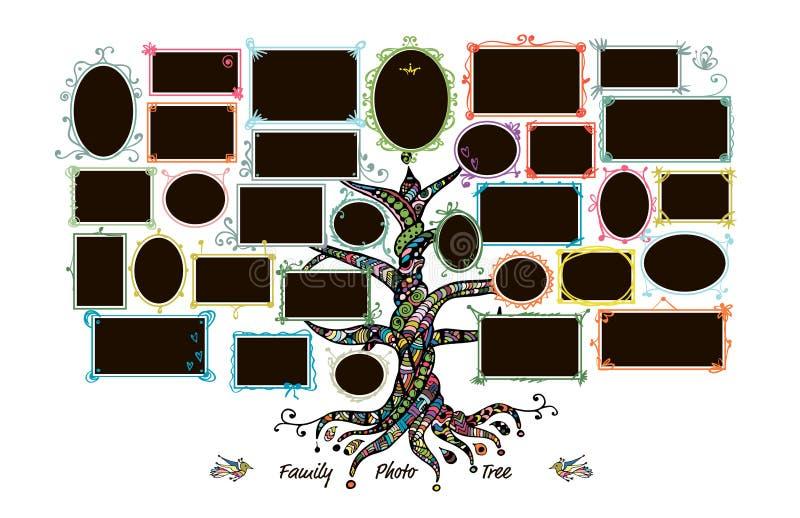 Molde da árvore genealógica com molduras para retrato ilustração do vetor