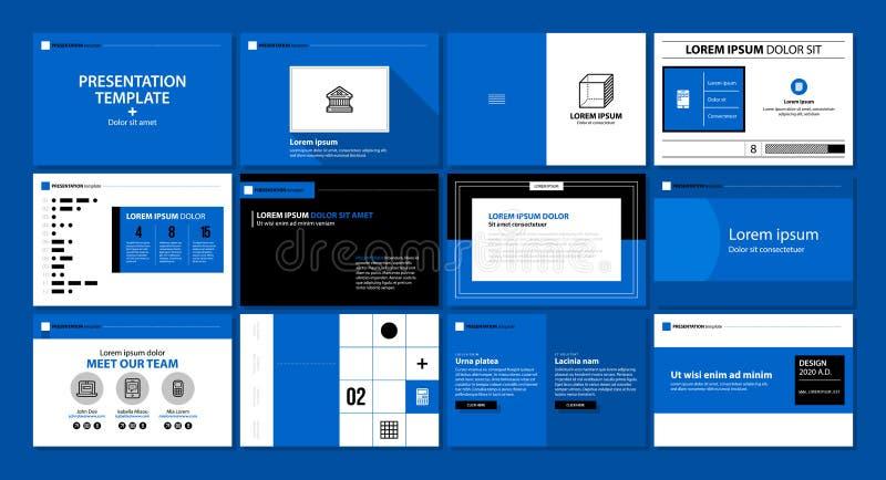 Molde da apresentação com as 12 páginas no estilo liso moderno Pode ser usado para o anúncio, os informes anuais e o design web ilustração stock