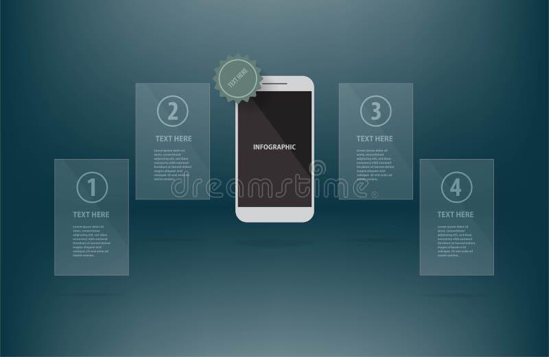 Molde da apresentação de dados comerciais do telefone celular infographic ilustração stock
