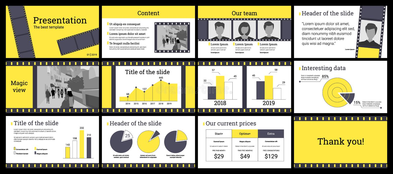 Molde da apresentação do negócio em amarelo e em cinzento no backg branco ilustração stock