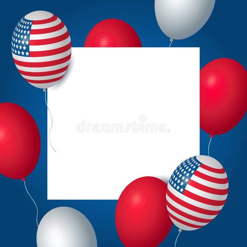 Molde da bandeira da celebração dos EUA do Dia da Independência com a decoração americana da bandeira dos balões 4o do molde do c ilustração royalty free