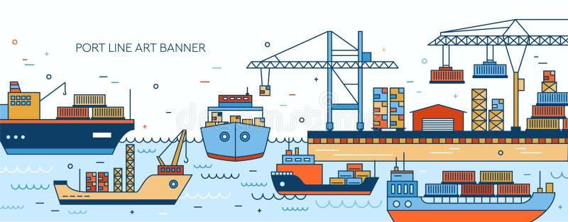 Molde da bandeira com porto, terminal marinho, embarcações do frete, containerships dos navios de carga, embarcações do mar, guin ilustração royalty free