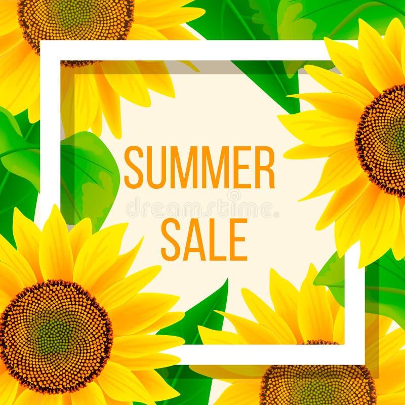 Molde da bandeira da venda do verão com girassol, ilustração ilustração stock