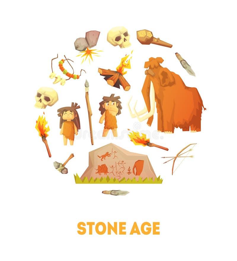 Molde da bandeira de Stone Age, pessoa pré-histórico da caverna, caçando ferramentas da ilustração do vetor da forma redonda ilustração do vetor