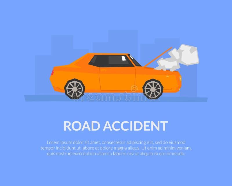 Molde da bandeira do acidente de viação com do lugar para o automóvel do texto, danificada e o quebrado, vetor da página da aterr ilustração do vetor