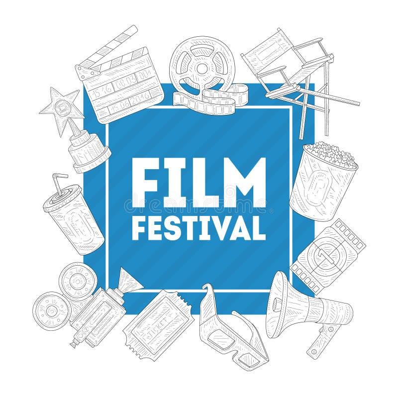 Molde da bandeira do festival de cinema, produção da indústria do inematography, anunciando para a ilustração do vetor da mostra  ilustração stock