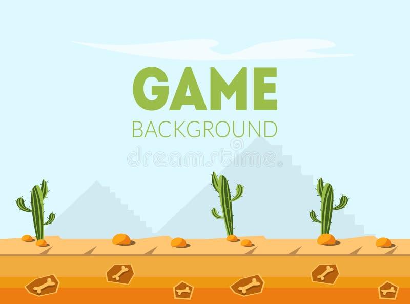 Molde da bandeira do fundo do jogo, paisagem natural do deserto para o móbil ou ilustração do vetor da interface de usuário do jo ilustração royalty free