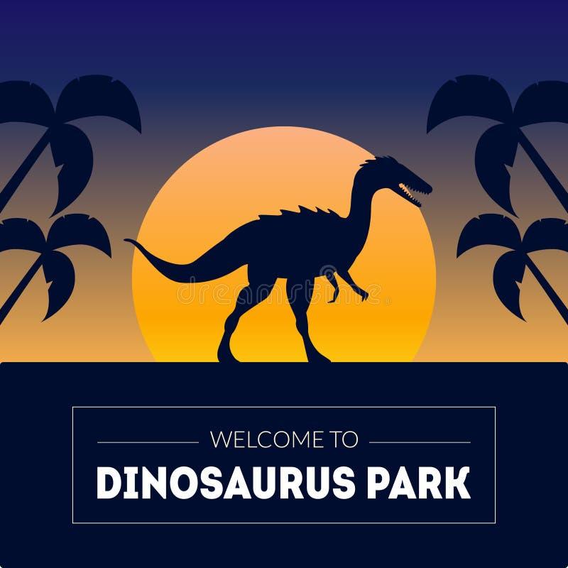 Molde da bandeira do parque do dinossauro com a silhueta do dinossauro no por do sol bonito, animal pré-histórico no fundo da nat ilustração royalty free