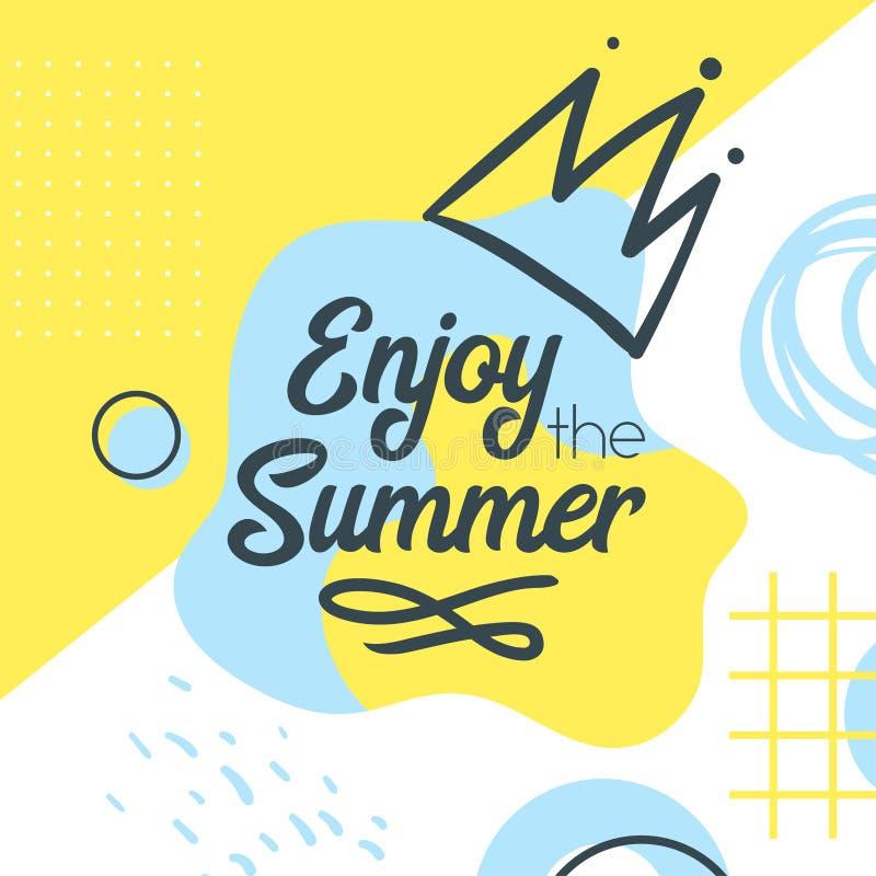Molde da bandeira do verão do estilo de Memphis ilustração stock