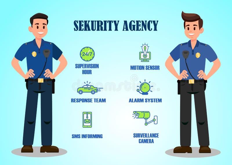 Molde da bandeira do vetor dos serviços da agência de segurança ilustração stock