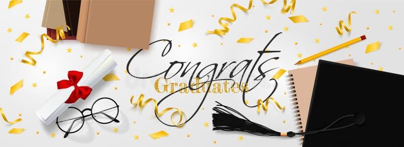 Molde da bandeira do vetor da graduação O fundo Congrats gradua-se com os objetos vistos de cima do chapéu com o papel do grau ilustração do vetor