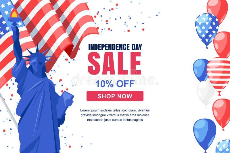 Molde da bandeira do vetor da venda do Dia da Independência dos EUA Fundo do branco do feriado 4 do conceito da celebração de jul ilustração do vetor