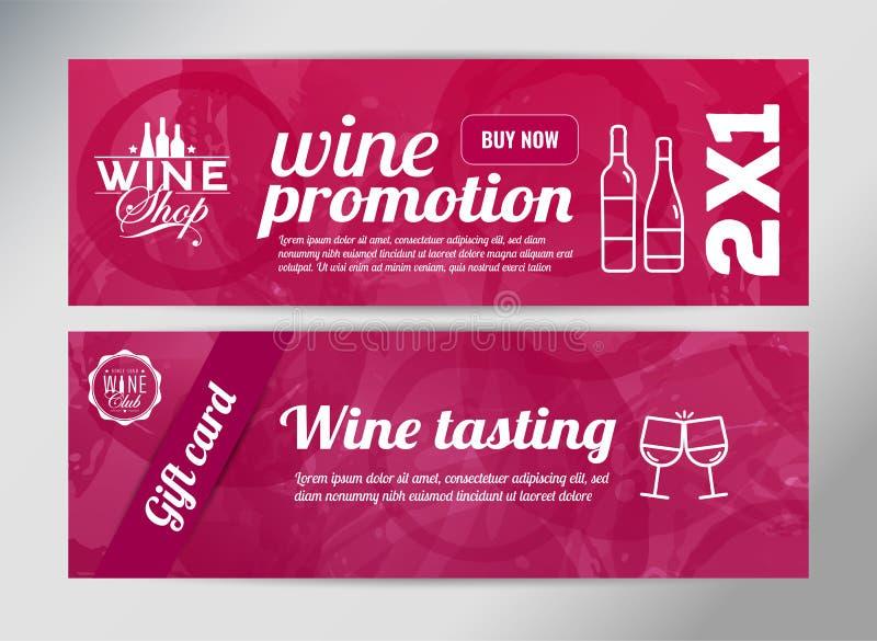 Molde da bandeira para o evento do vinho ilustração stock