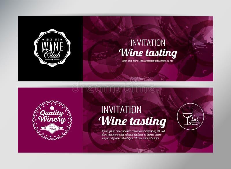 Molde da bandeira para o evento do vinho ilustração royalty free
