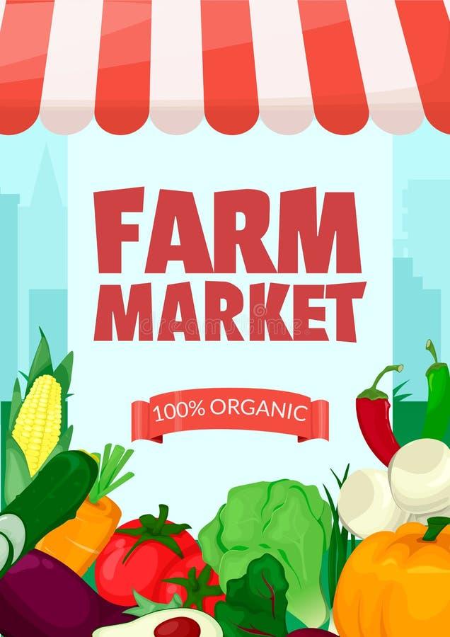 Molde da bandeira para o mercado dos fazendeiros Loja local orgânica de Eco Vendendo frutas e legumes Suportes do produto Vetor d ilustração do vetor