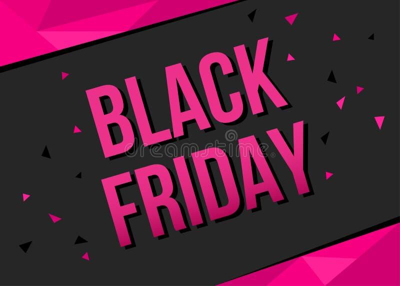 Molde da bandeira da venda de Black Friday com texto cor-de-rosa ilustração do vetor