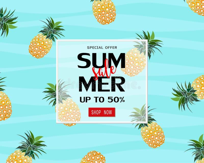 Molde da bandeira da venda do verão com o abacaxi para o cartaz, o inseto, o desconto do comprovante, a promoção, a compra em lin ilustração royalty free