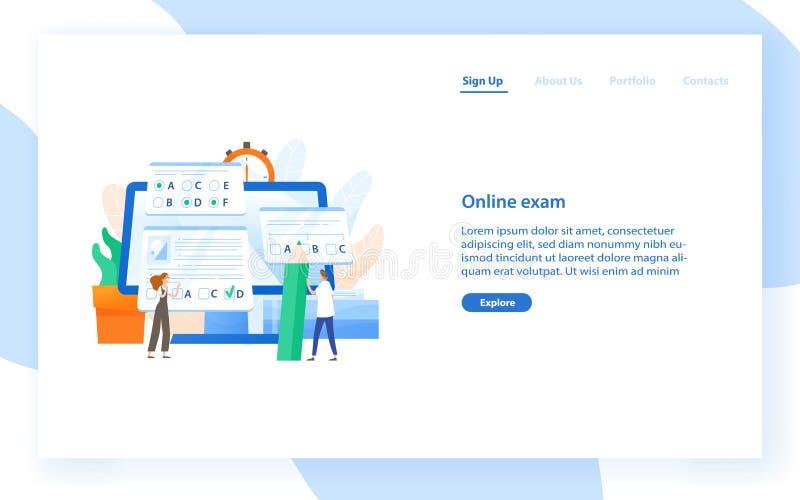 Molde da bandeira da Web com computador gigante e os estudantes minúsculos que passam a teste do Internet o exame em linha, apren ilustração stock