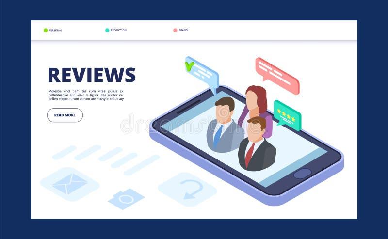 Molde da bandeira da Web das revisões Página de aterrissagem do feedback com o telefone e os povos isométricos do vetor ilustração stock