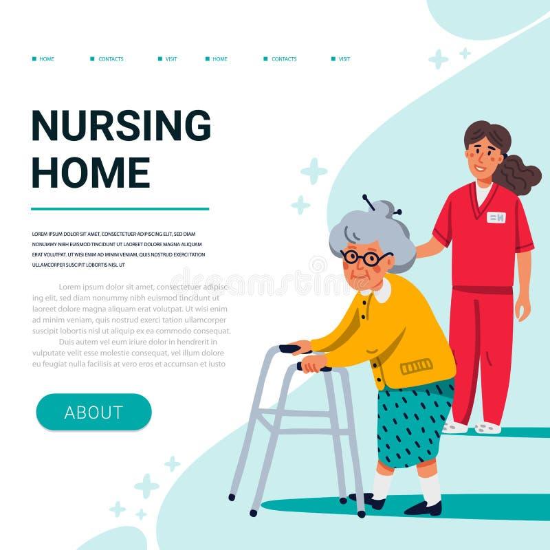 Molde da bandeira da Web do lar de idosos Senhora idosa com caminhante da pá e a enfermeira nova Auxílio superior dos cuidados mé ilustração do vetor