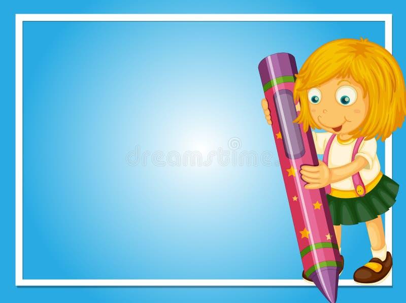 Molde da beira com menina e pastel ilustração royalty free