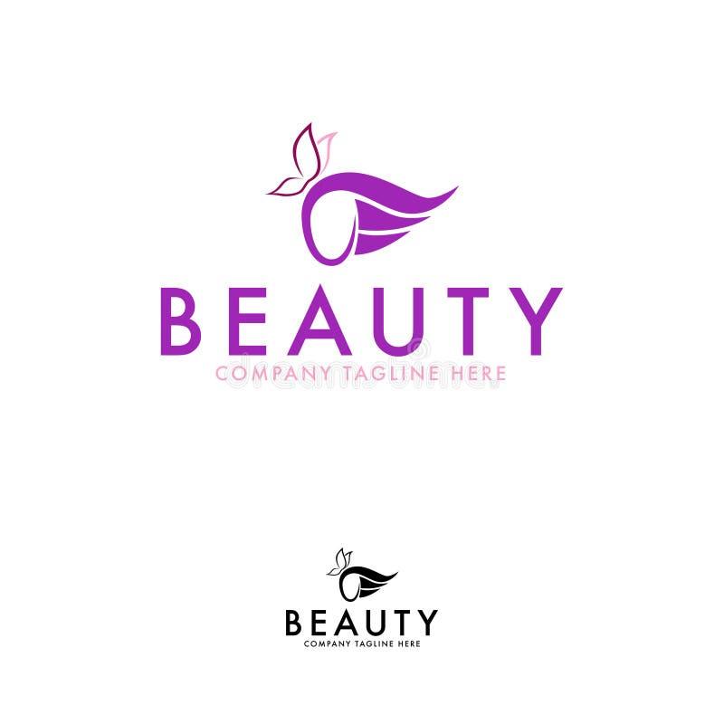 Molde da beleza ou do projeto do logotipo da borboleta ilustração stock